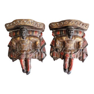 Venetian Polychrome Backamoor Wall Brackets Shelves, a Pair For Sale