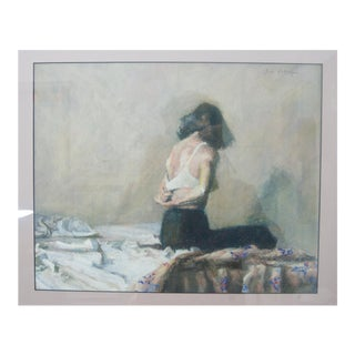 """""""Female Undressing"""" Pastel Painting on Paper Signed by Artist For Sale"""