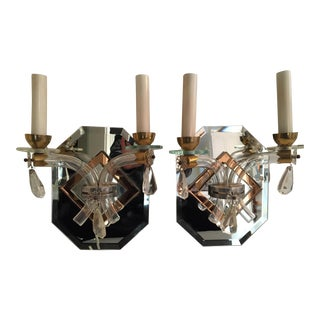 Antique French Mirrored Wall Sconces - a Pair For Sale