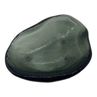 Mid-Century Modern Blenko Black Glass Free Form Amoeba Tray For Sale