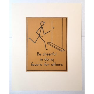 """Vintage 1940's Double-Sided """"Good Manners"""" Stick Figure Poster - Be Cheerful/Take Part"""