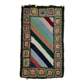 Late 19th Century Antique American Hooked Rug - 1′11″ × 3′ For Sale