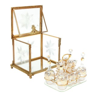 Antique French Gilt Bronze and Glass Tantalus Set - 19 Piece Set For Sale
