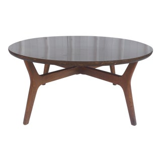 Mid-Century Coffee Table With Sculpted Walnut Base For Sale