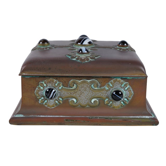 Rare Antique Banded Agate & Brass Renaissance Style Box For Sale In Los Angeles - Image 6 of 6