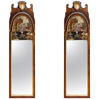 Pair of Period George II Walnut and Gilt Etched Glass Mirrors