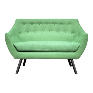 Modern Mid Century Style Margarita Green Loveseat For Sale