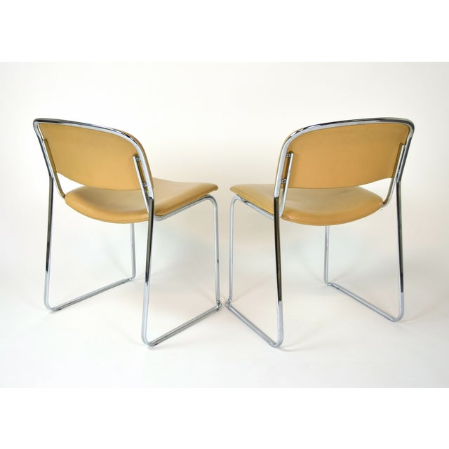 1980s Vintage Stacking Leather and Chrome Chairs by Thema- Set of 4 For Sale In Chicago - Image 6 of 11