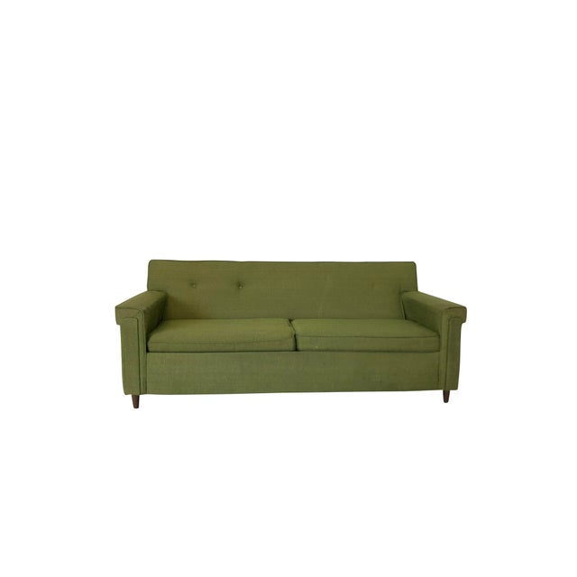 Mid Century Modern Green Upholstered Sofa Sleeper