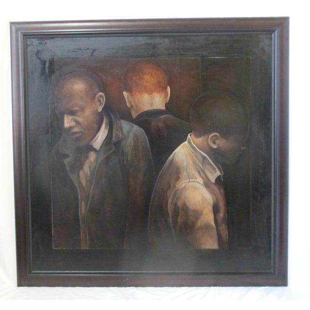 """Black Modern """"3 Men"""" Portrait Oil Painting Signed Berner 1994 For Sale - Image 8 of 8"""