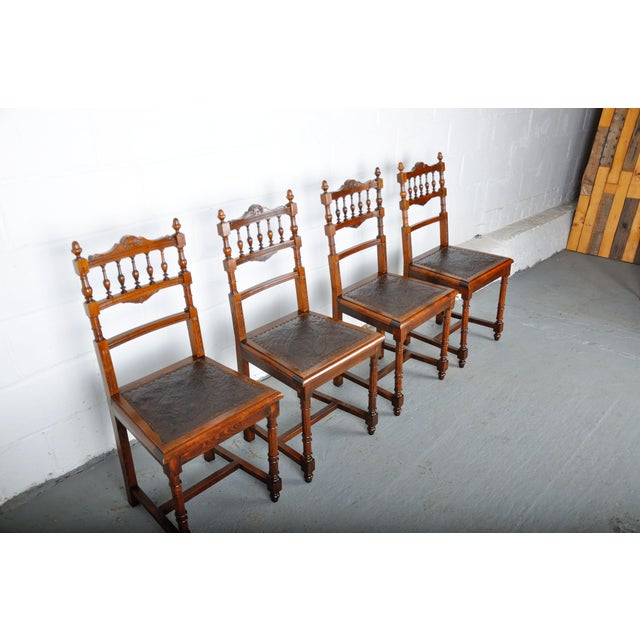 Wood Antique Set of 4 French Henri II Oak Dining Chairs For Sale - Image 7 of 13