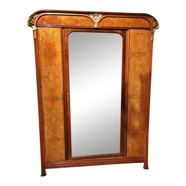 Antique ART NOUVEAU 19th/20th C FRENCH Walnut Satin Inlay BRONZE Mounted MIRROR ARMOIRE For Sale