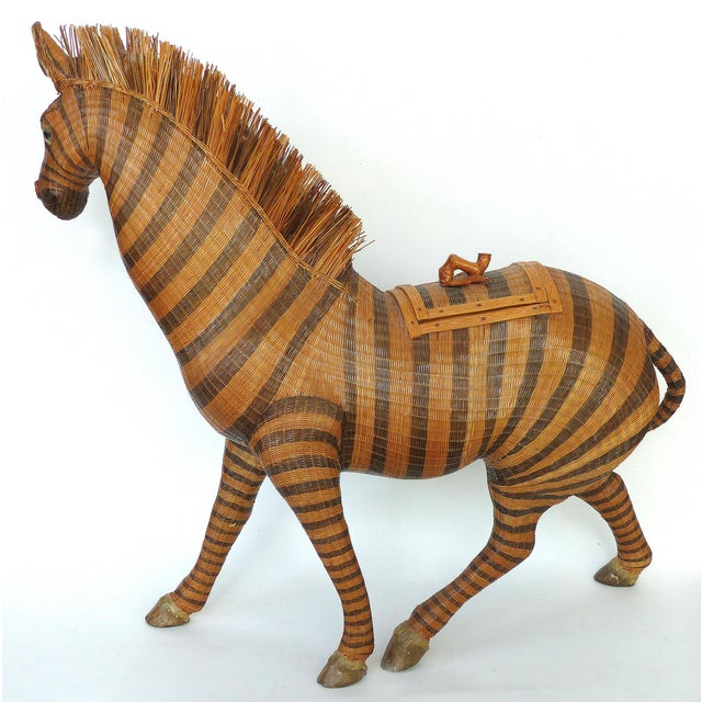 Chinese Woven Reed Zebra Trinket Box Offered for sale is an intricately woven and finely detailed figure of a zebra from...