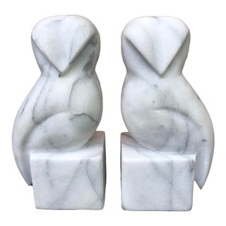 Vintage Modern Marble Owl Bookends - a Pair For Sale