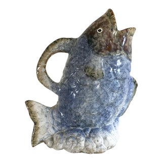 1970s Vintage Ceramic Fish Water Pitcher For Sale