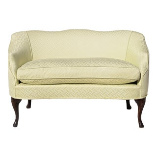 Curved Camel Back Demi Settee For Sale