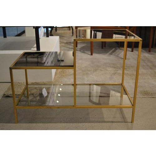 Contemporary Vintage Gilt Metal End Table With Smoked Glass, France, C.1970 For Sale - Image 3 of 7