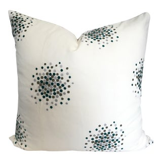 Designer Green & Gray Embroidered Pillow Cover For Sale