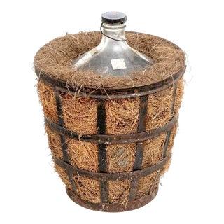 French Glass Demijohn & Vintner Iron Basket For Sale