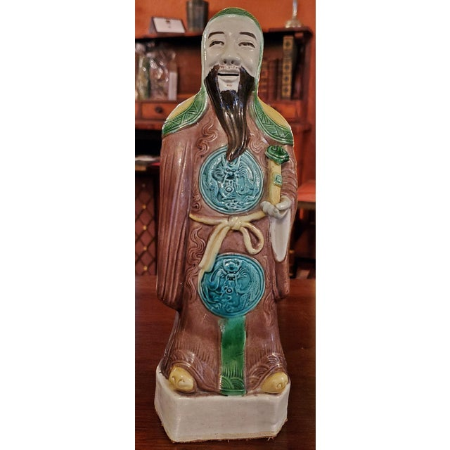 Ceramic Vintage Chinese Ceramic Monks - a Pair For Sale - Image 7 of 12