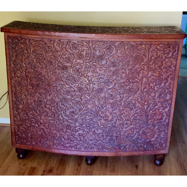 Hand Tooled Leather Bar With Intricate Floral Design, Made in Peru For Sale - Image 9 of 9