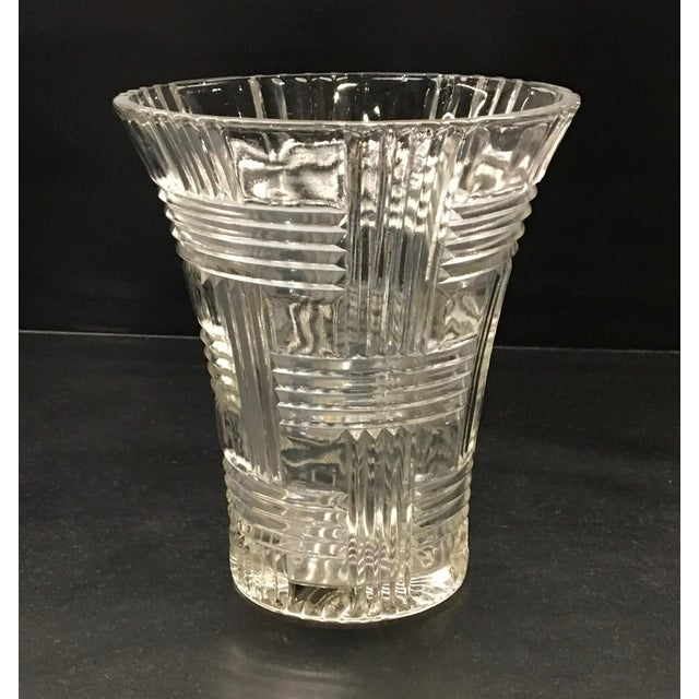 Offering a clear depression glass vase by Anchor Hocking Glass Co. with a criss cross - or basket weave - pattern. The...