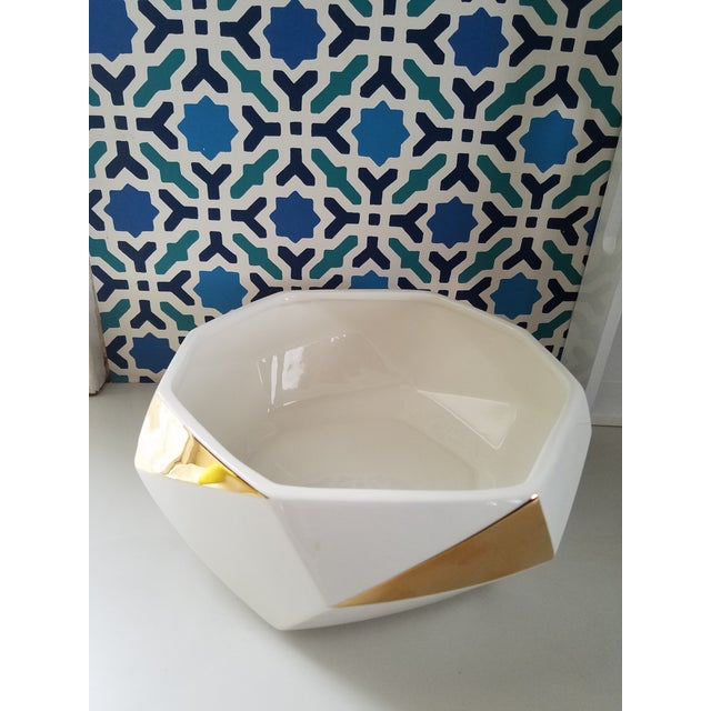White & Gold Faceted Bowl - Image 2 of 5
