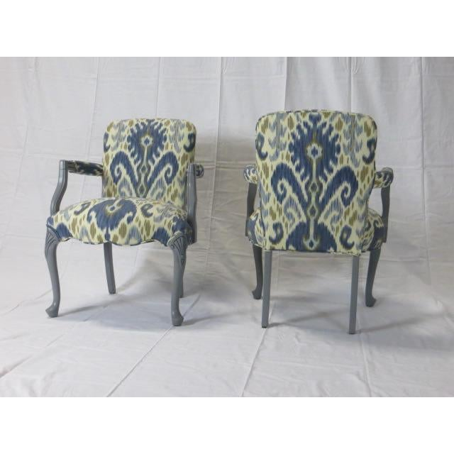 Ca. 1900s Gray Lacquered Cabriole Legs Chairs Reupholstered In Ikat Fabric by Kravet Measurements: 23 1/2 Inches Width X...