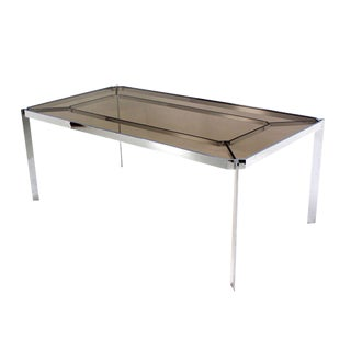 Mid-Century Modern Chrome and Smoked Glass-Top Dining Table by Baughman For Sale