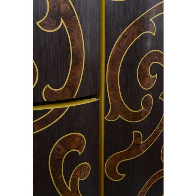 Italian Italian Rococo Style Marquetry and Silver Leaf Three-Door Cabinet on Base For Sale - Image 3 of 9