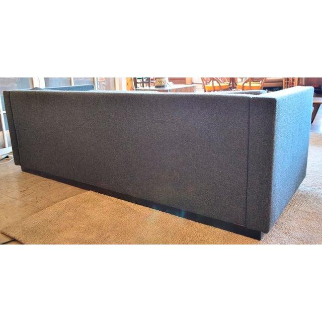 1980s Mid Century Modern Slate Gray Tweed Box Sofa For Sale - Image 5 of 6