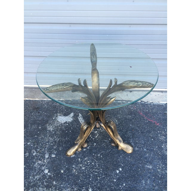 Vintage Brass Corn End Table For Sale - Image 5 of 6