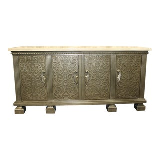 4-Door Hollywood Regency Style Credenza/SideBoard/Buffet With Ornate Elegant Silver Finish Embossed Pattern For Sale