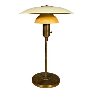 1930s Lyfa of Denmark Table Lamp, Glass, Brass & Lacquered Metal For Sale