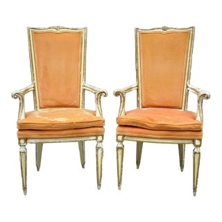 61163d1f59ff Vintage Mid Century Karges Italian Venetian Cream   Gold Distress Painted  Dining Arm Chairs- A Pair