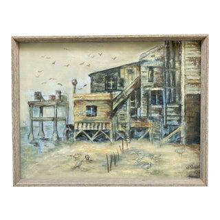 Vintage Seascape Houses Framed Painting For Sale