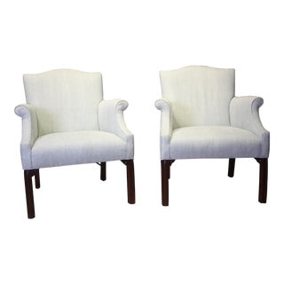 Late 20th Century Vintage Camel Back Club Chairs- a Pair For Sale