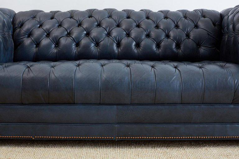 Mid 20th Century English Tufted Navy Blue Chesterfield Sofa For Sale    Image 5 Of 12