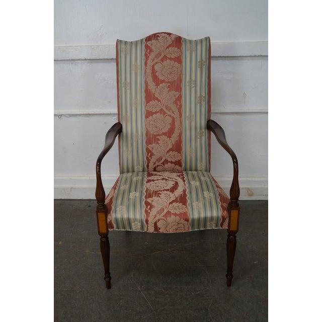 Wood & Hogan Custom Mahogany Inlaid Sheraton Style Lolling Chair - Image 2 of 10