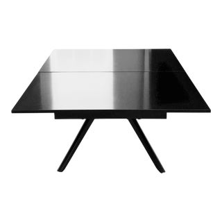 1950's Castro Convertibles Ajustable Dining / Coffee Table Chic Modern Design With Black Laminate Top and Painted Wood Legs. For Sale