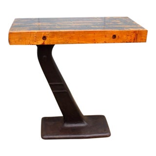 1930s Industrial Iron and Wood Console Table