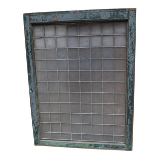 1890 Large Luxfer Prism Ribbed Leaded Glass Pine Architectural Salvage Transom Window