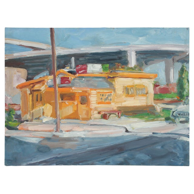 """Contemporary """"Walt's Diner"""" Bay Area Cityscape Oil Painting, 1989 For Sale - Image 3 of 3"""