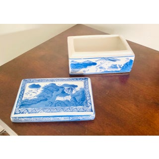 Vintage Chinoiserie Blue and White Ceramic Box Preview