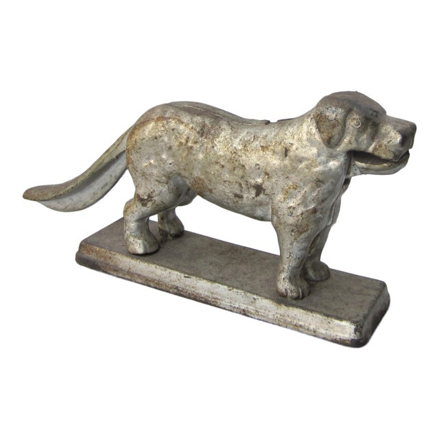 1930s Vintage Cast Iron Dog Golden Retriever Labrador Hinged Tabletop Nutcracker For Sale