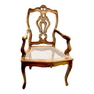 Italian Carved Wood and Woven Cane Seat Arm Chair For Sale