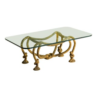 French Coffee Table with Rope and Tassel Feet For Sale