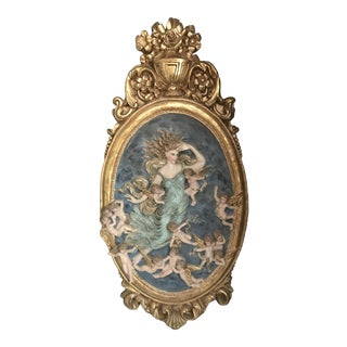 Art Nouveau Woman With Cherubs Wall Decor For Sale