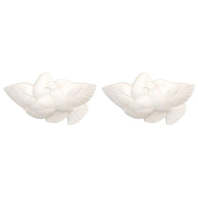 Pair of Art Deco White Plaster Dove Sconces Wall Lamps, France Circa 1935 For Sale - Image 10 of 10