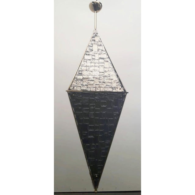 Limited edition Italian lantern shown in silvered triangular textured Murano glasses, mounted on polished brass frames /...